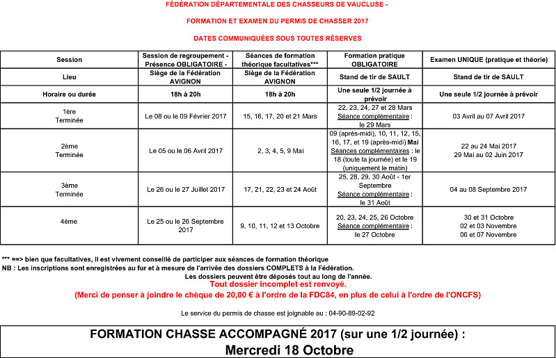 Dates formations examens Permis Chasser 2017 3
